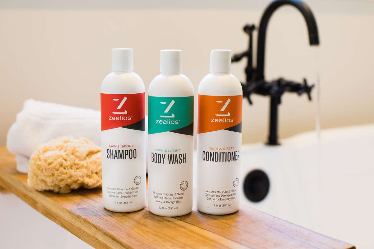 Zealios Shower & Swim products remove chlorine & sweat