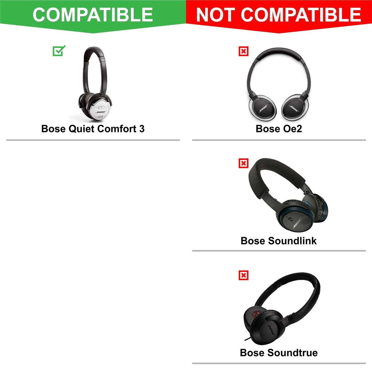 b67ce9969bd Replacement Ear Pads For Bose QC3 - Black – Wicked Cushions
