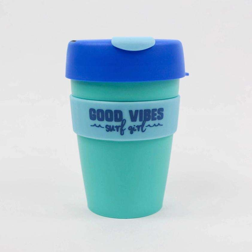 SurfGirl Beach Boutique Good Vibes Keep Cup - Sunrise Surf Blue Turquoise surfgirl