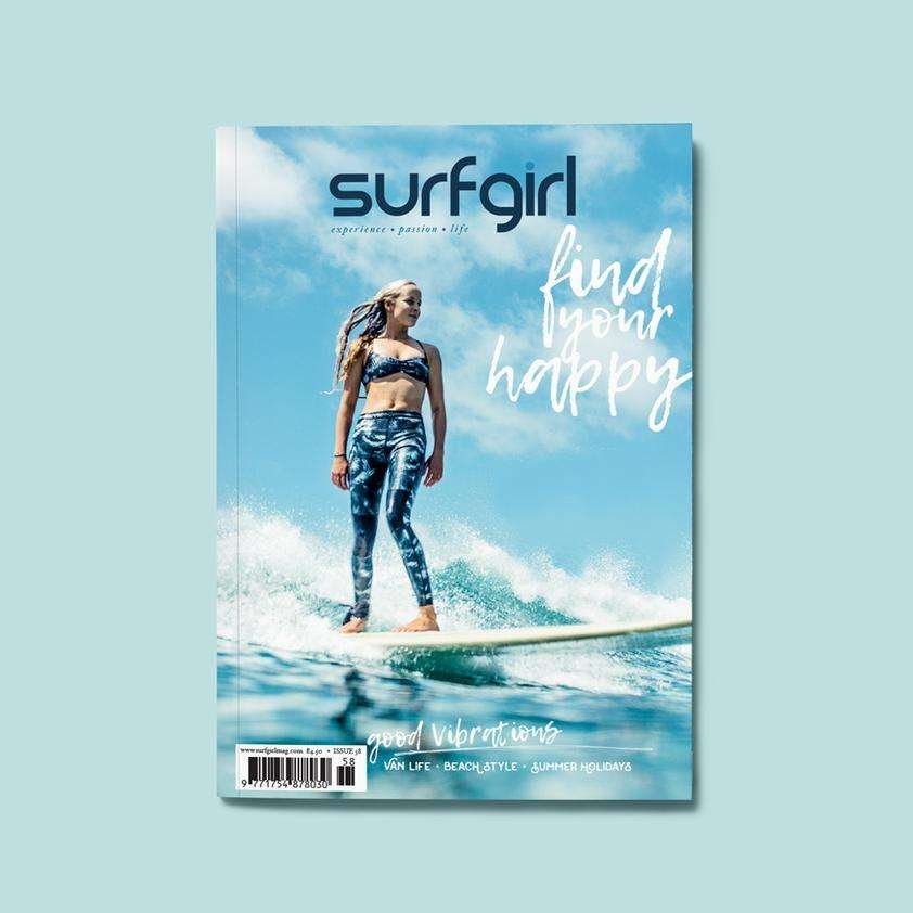 surfgirl magazine surf girl cover good vibrations find your happy surfing