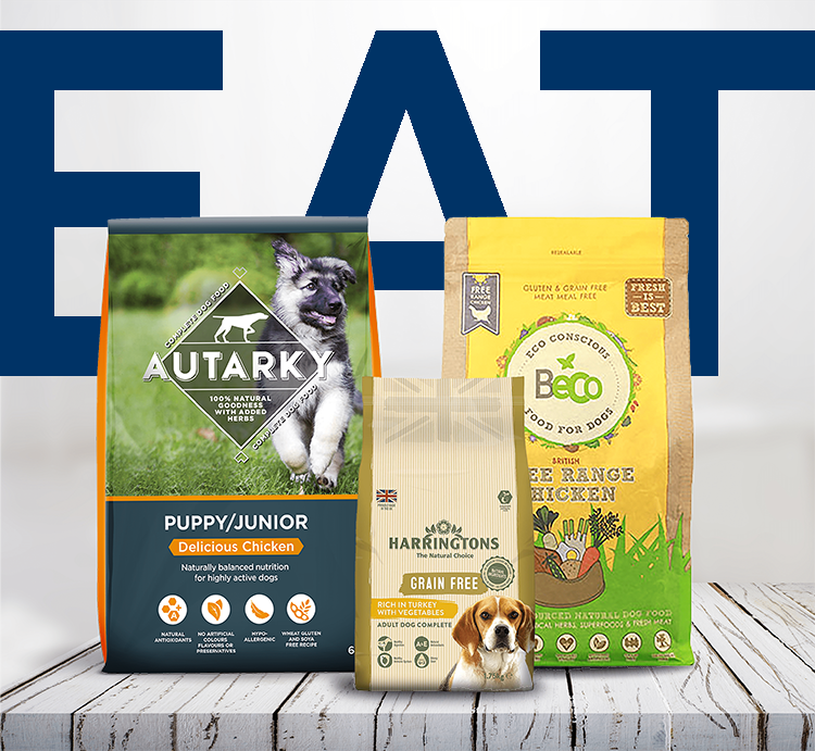 A range of healthy natural dog food available