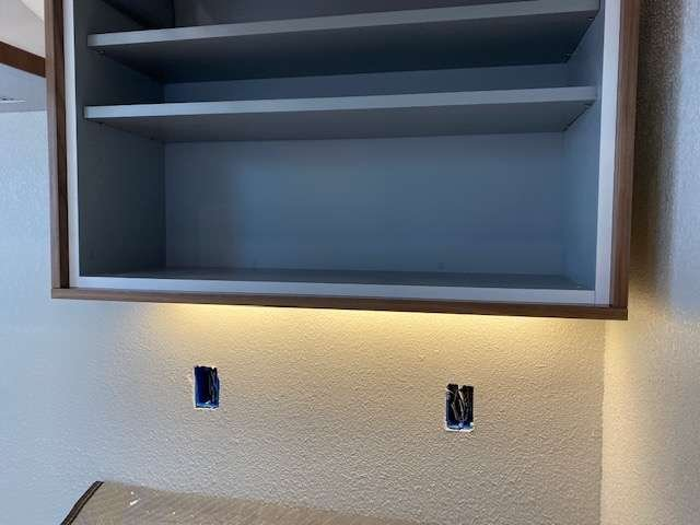 Recessed led strip in bookshelf