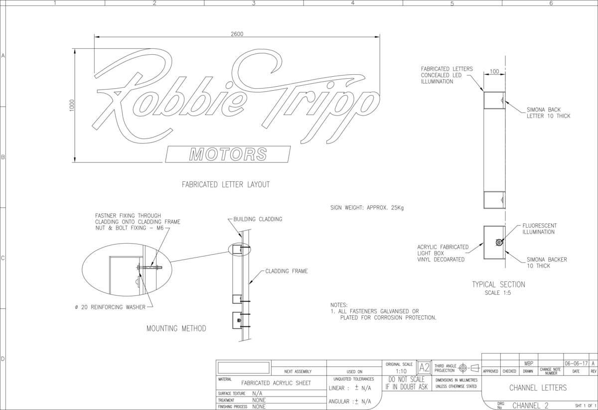 Signage Engineering Drawing