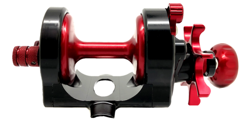 SEiGLER SM THE SURF REEL built to outcast anyone Conventional star drag fishing reel in Red accents and Gunmetal anodized finish, American made made in Virginia Lifetime warranty