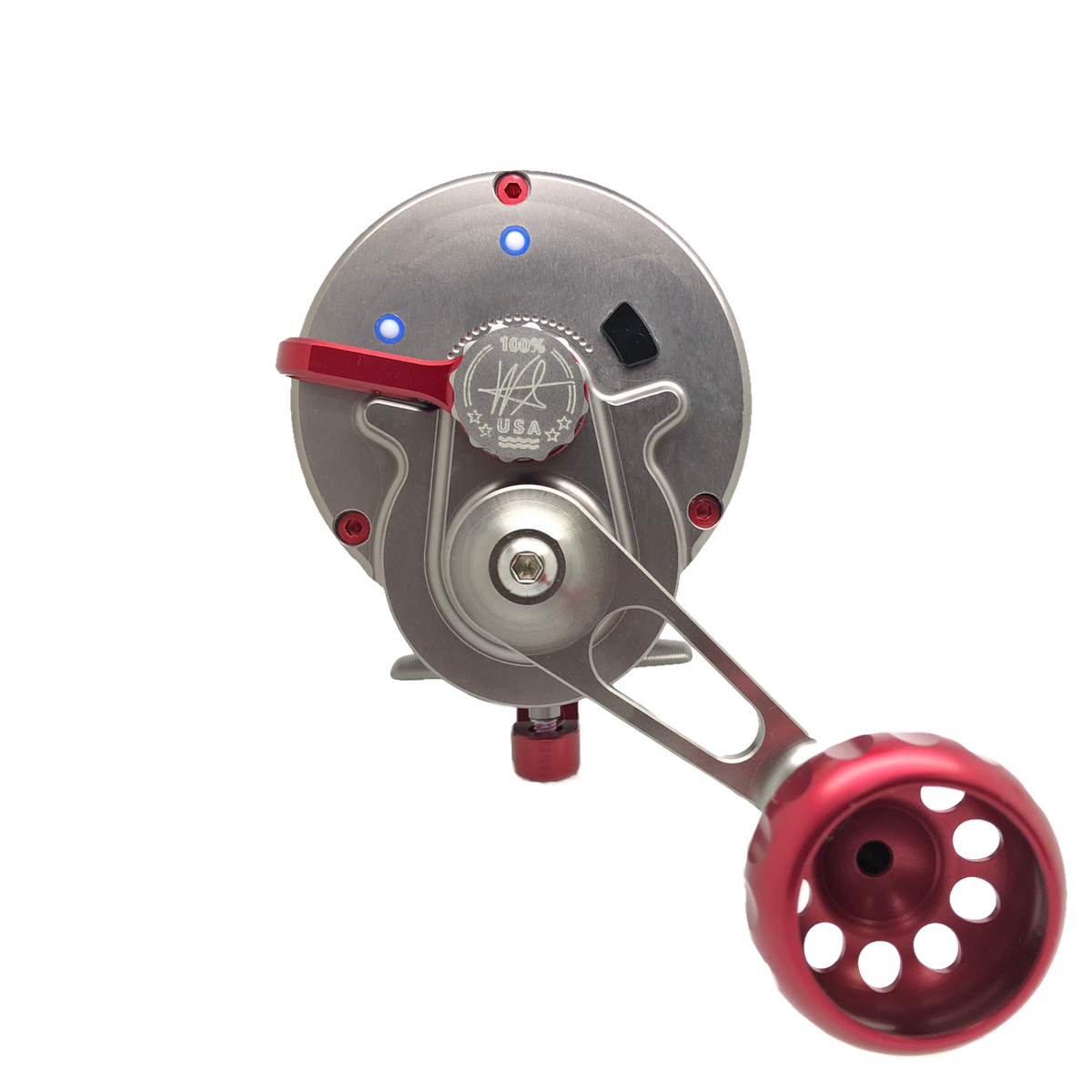 SEiGLER OS Conventional lever drag fishing reel in red accents and Gunmetal anodized finish, American made, made in Virginia Lifetime warranty