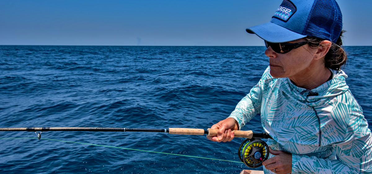 Sarah Gardner fly fishing for billfish. Seigler fly reels, Lever drag fly reel, innovative fly reel design,