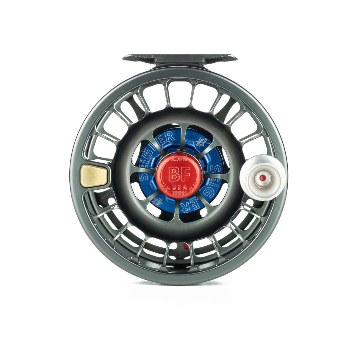 Front view of the Seigler Big Fly saltwater fly reel.