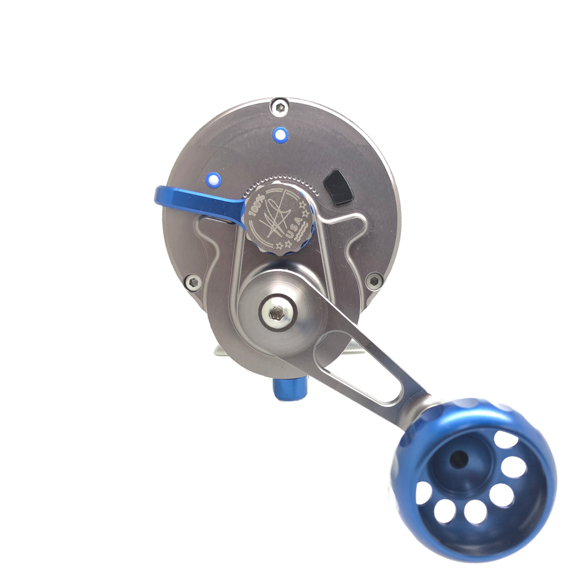 SEiGLER OS Conventional lever drag fishing reel in Blue accents and Gunmetal anodized finish, American made made in Virginia Lifetime warranty