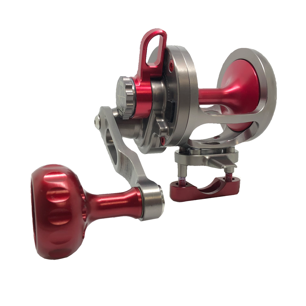 SEiGLER SG our original reel smoke and red accents. Made in USA machined aluminum reel made in Virginia Beach Va. Virginia is for Lovers!
