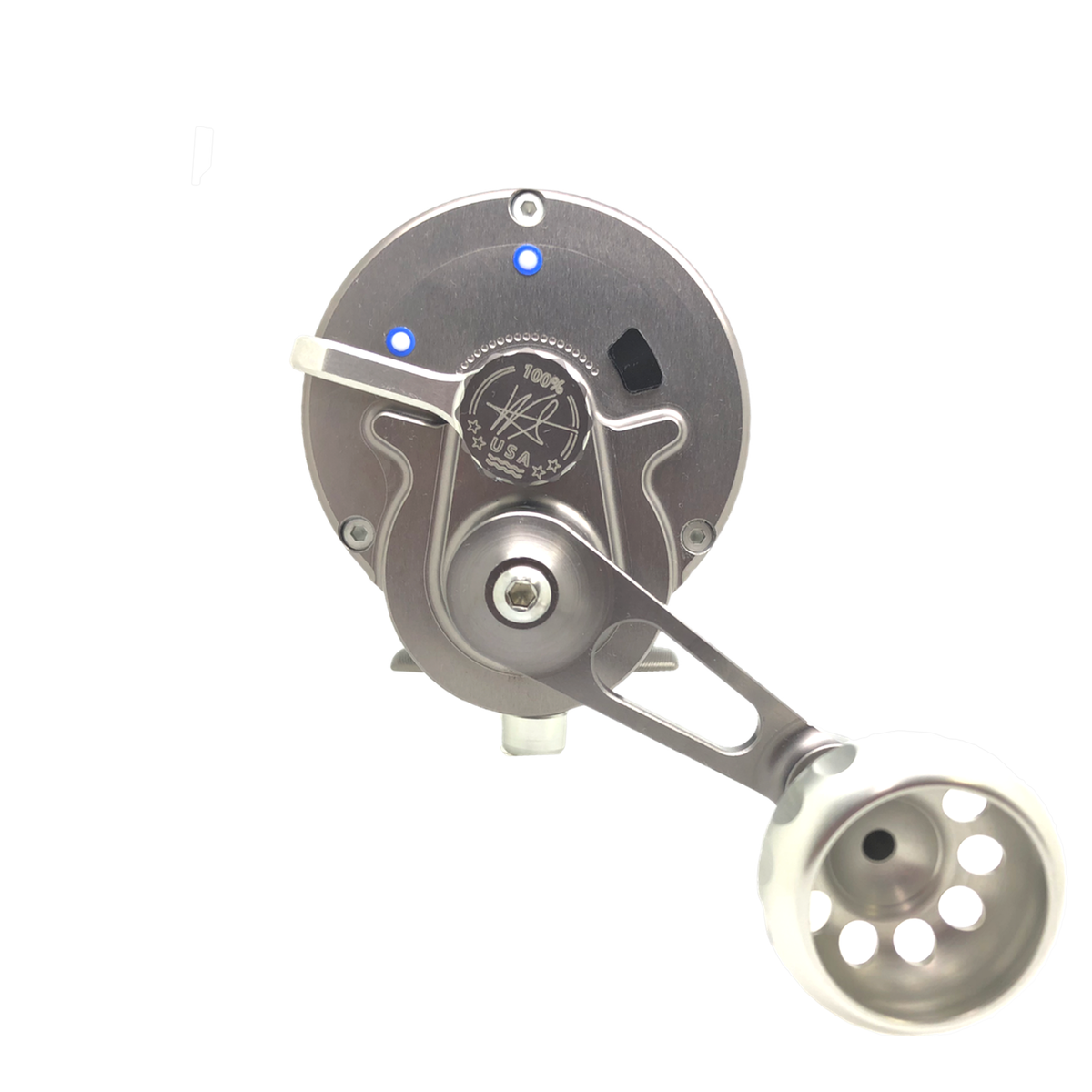 SEiGLER OS Conventional lever drag fishing reel in Silver accents and Gunmetal anodized finish, American made made in Virginia Lifetime warranty