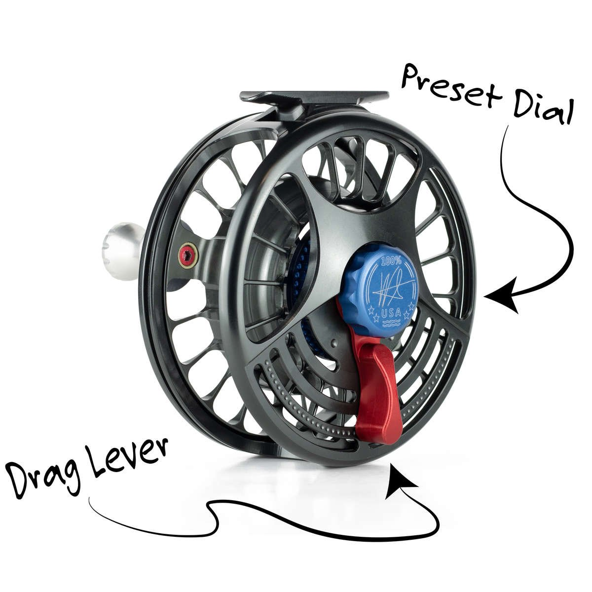 Seigler saltwater fly fishing reel with lever drag and preset dial.