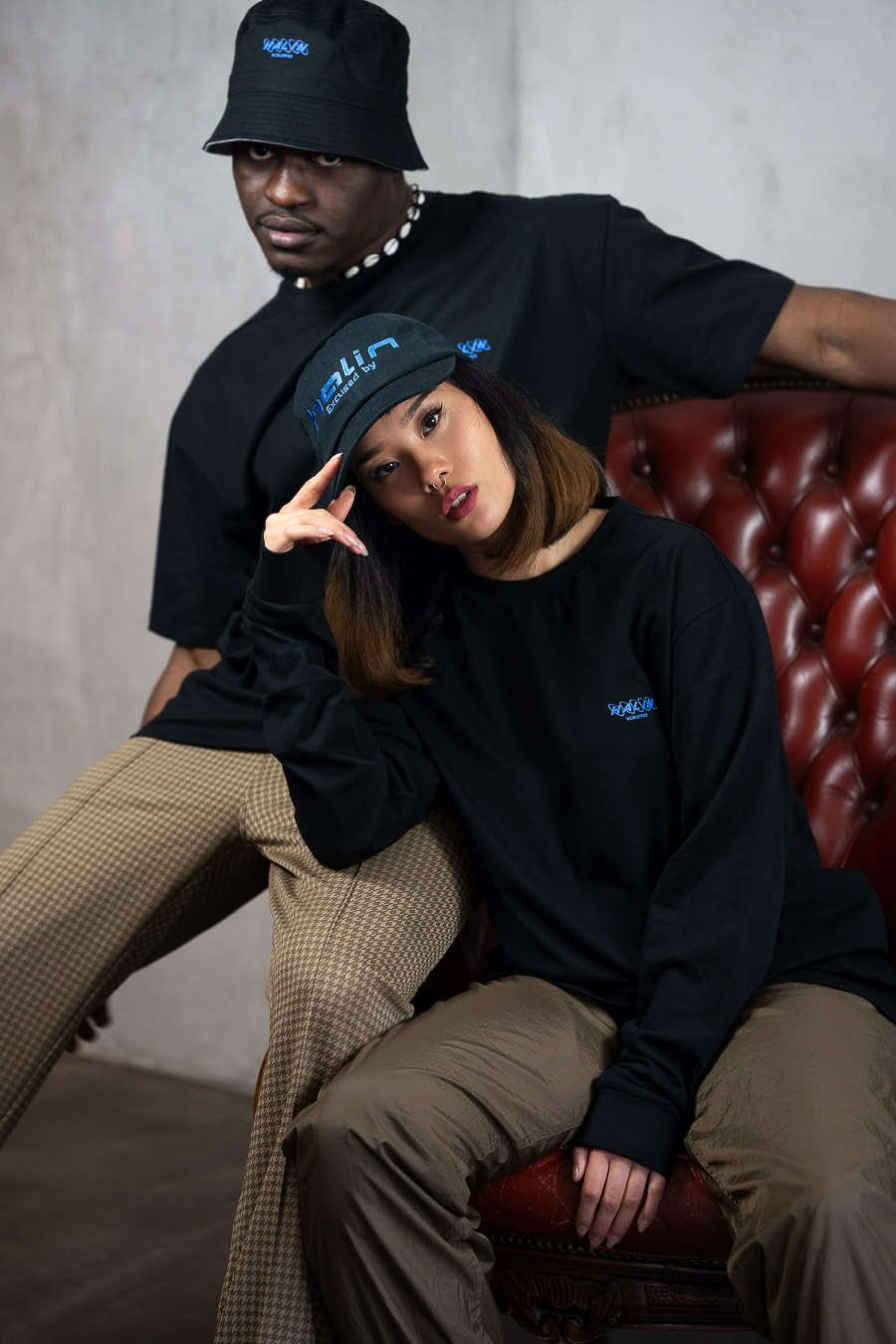 Female and male model wearing Halin Worldwide streetwear look from the Not Today collection.