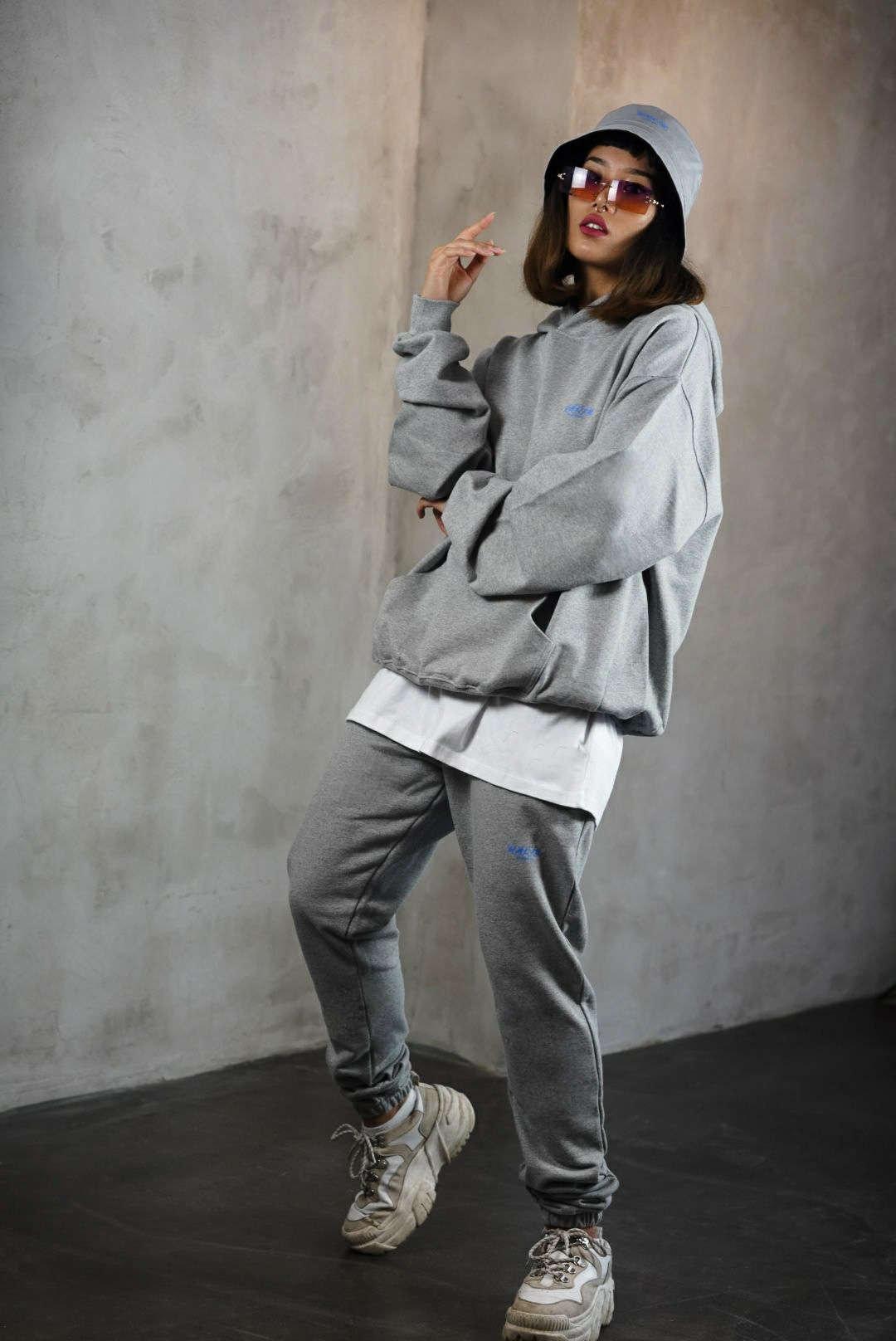 Halin Worldwide Not Today Streetwear Collection Lookbook - Model wearing cozy Halin jogging suit.
