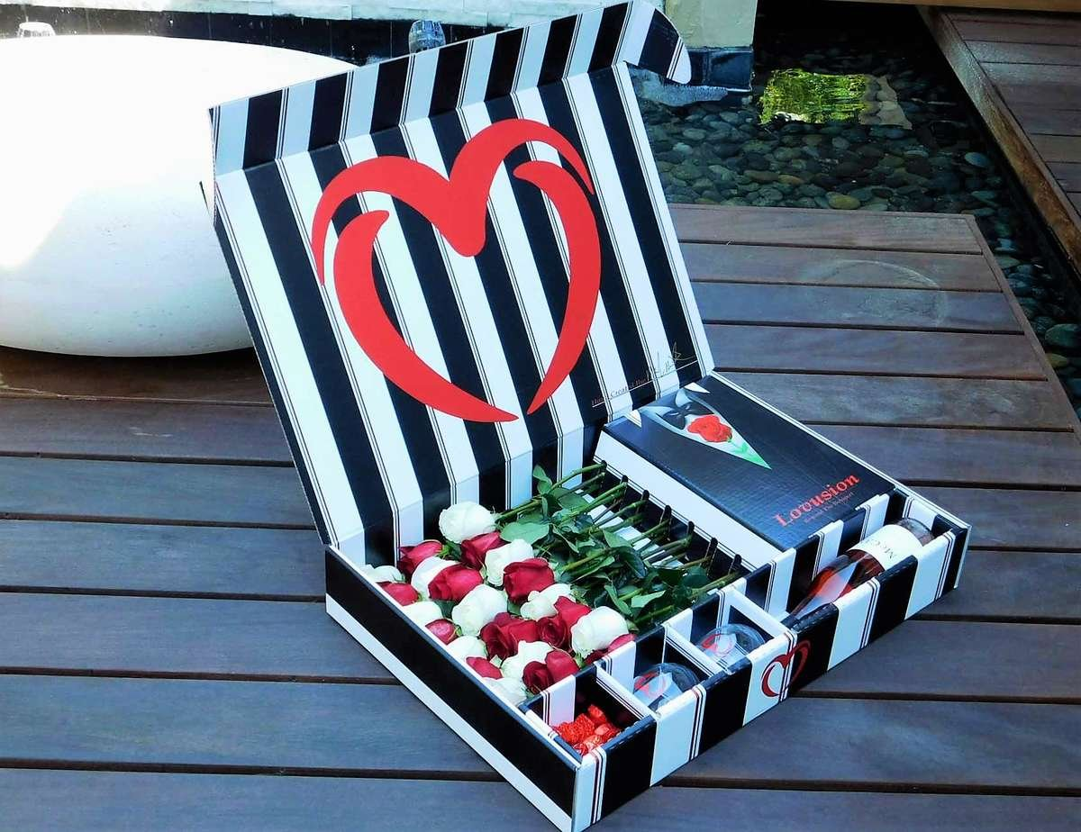 send roses in a box with chocolates and wine