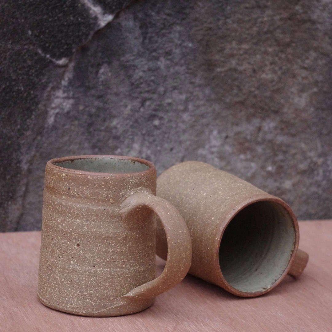 Dry Ash Glaze Mug Pair