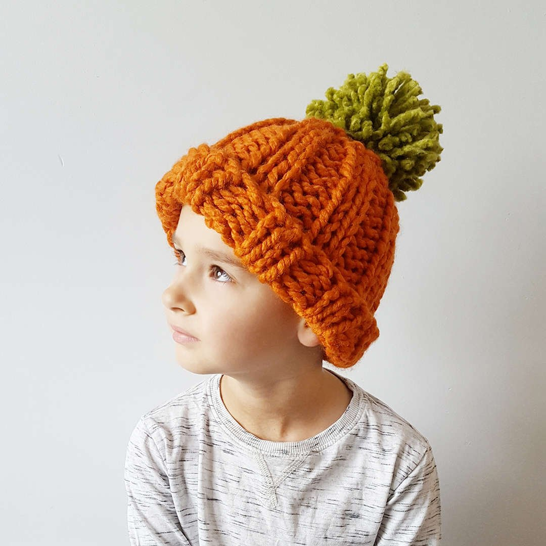 Orange & Green Pumpkin Bobble Hat