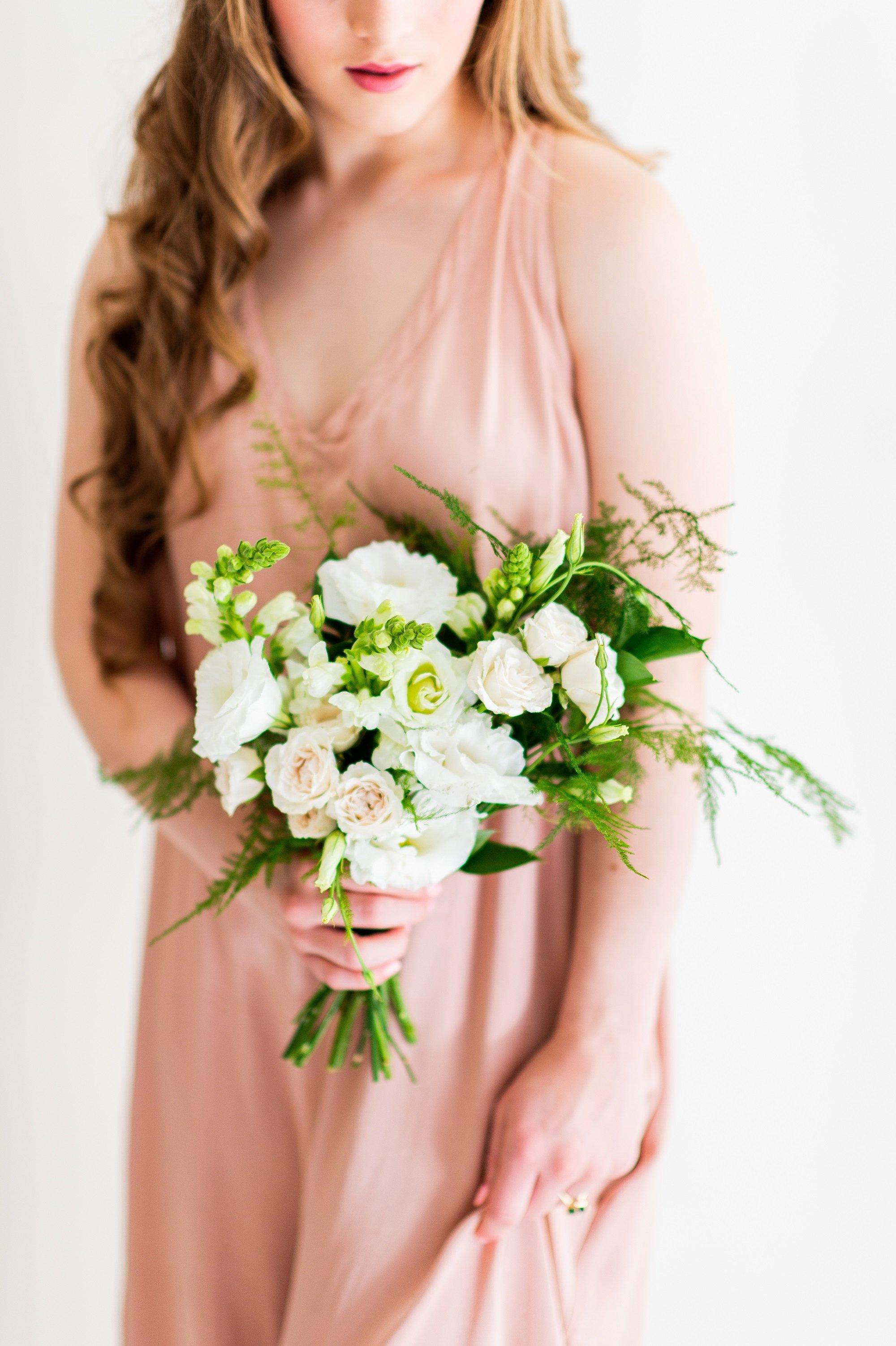 Flower Moxie, DIY Bridesmaid Bouquet, Plumosa Bouquet, fern wedding, cream and green wedding