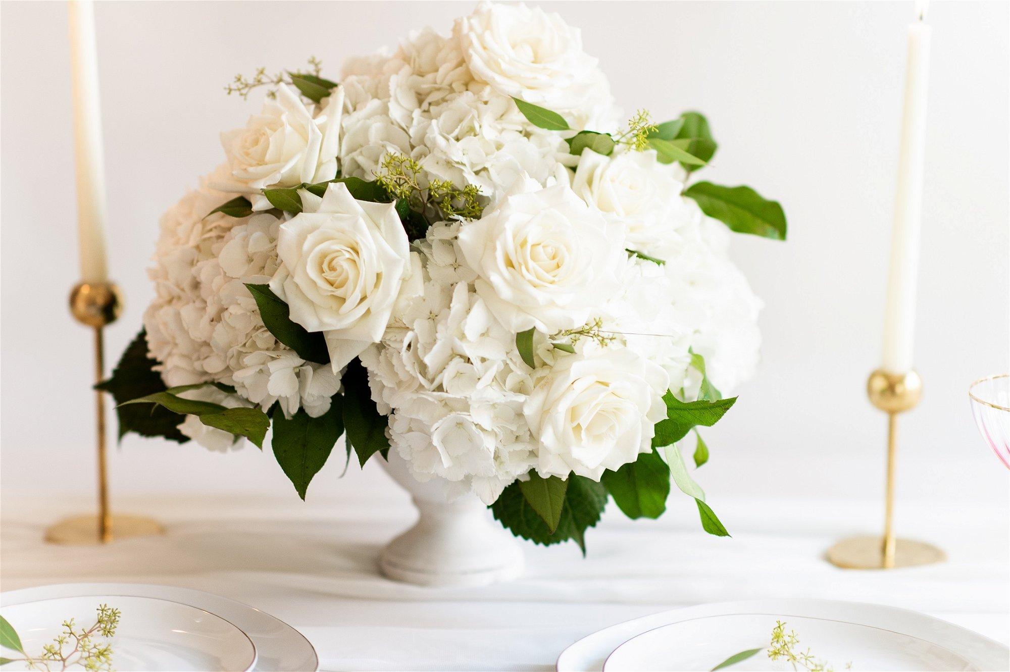 hydrangea centerpiece, Flower Moxie, DIY Wedding Flowers, How to make a centerpiece