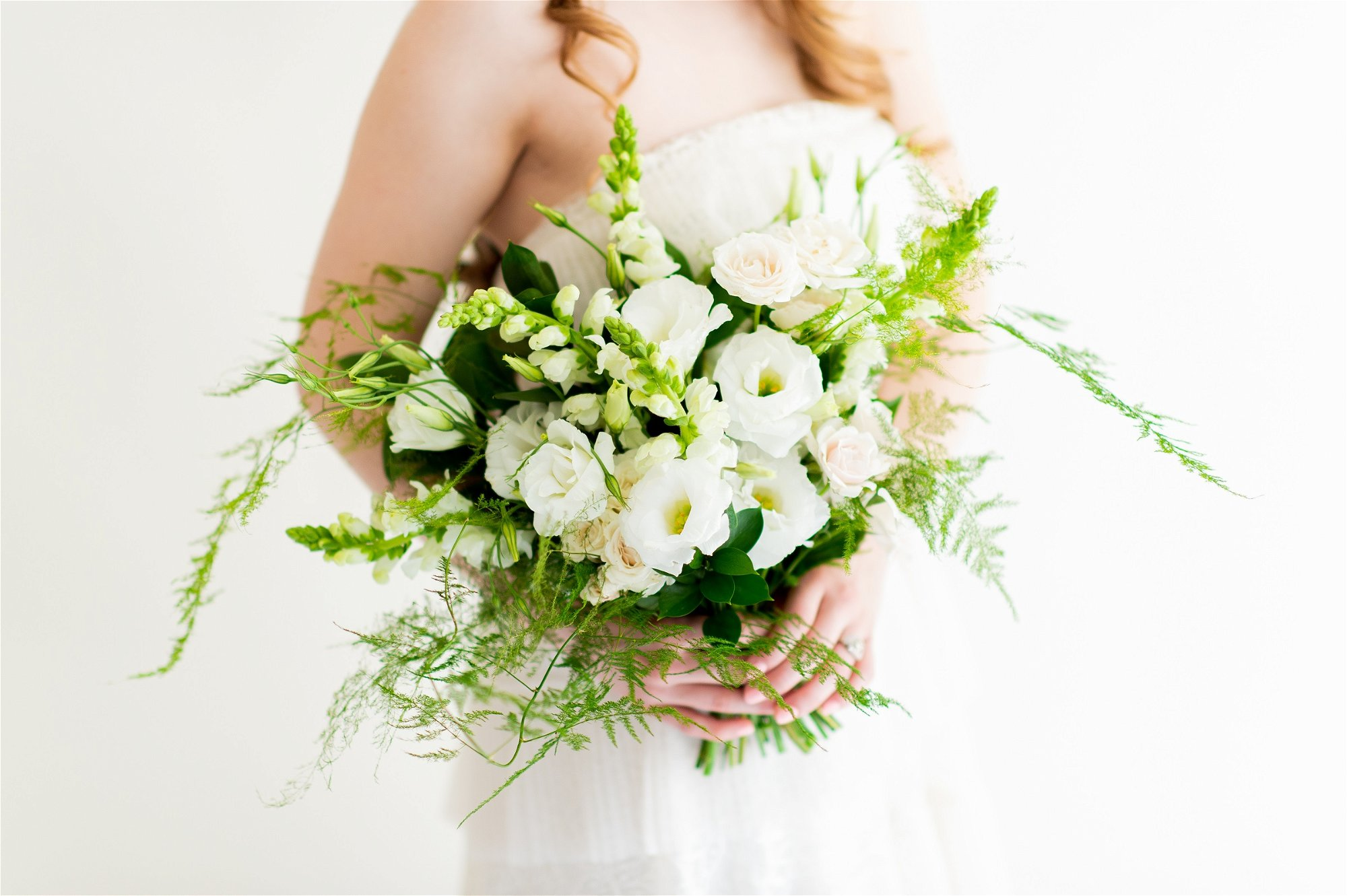 flower moxie, diy bridal bouquet, plumosa bouquet, whimsical bouquet, lisianthus bouquet, cream and green bouquet, fern bouquet