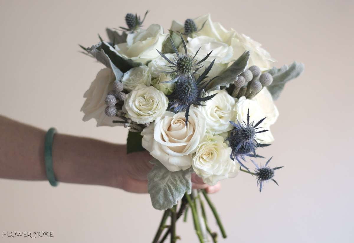 cream and grey bouquet, thistle bouquet, brunia bouquet, flower moxie, DIY wedding flowers, dusty miller bouquet