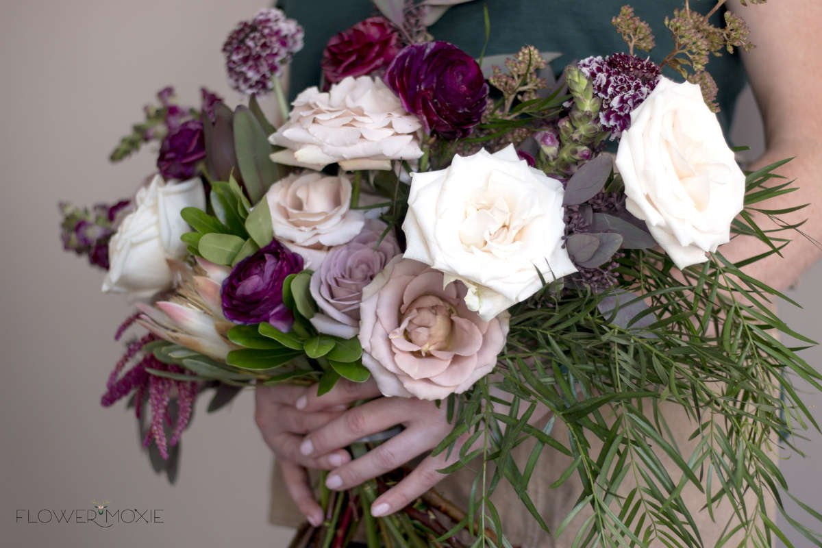 amnesia rose bouquet, moody bouquet, weeping podocarpus, scabiosa bouquet, burgundy ranunculus, organic bridal bouquet, flower moxie