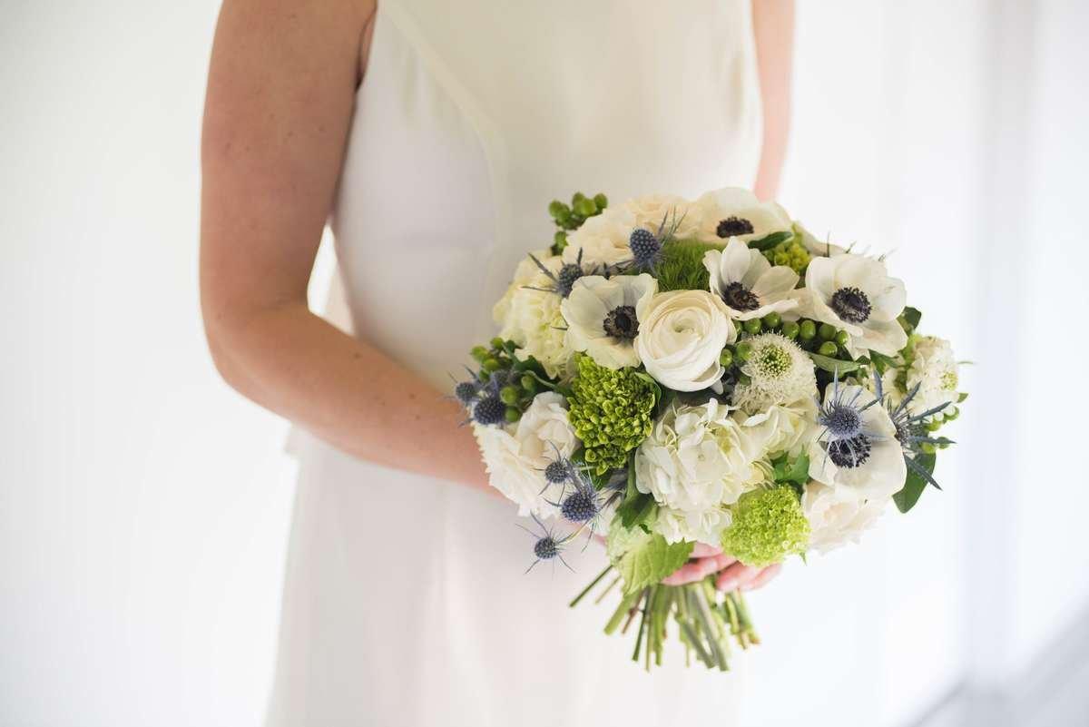 white anemone, anemone bouquet, cream and green bouquet, st patty wedding, flower moxie