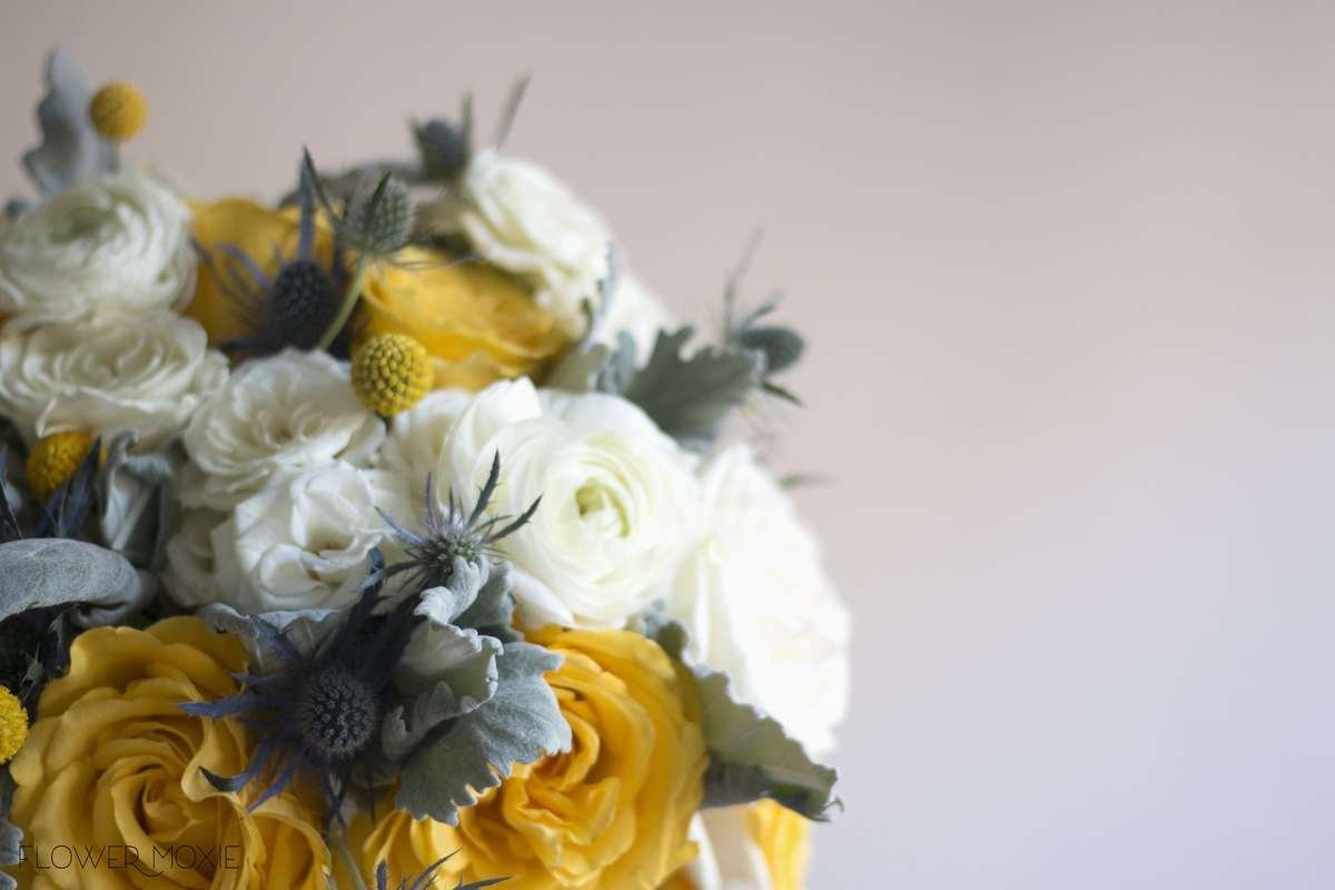 yellow bridal bouquet, billy ball bouquet, thistle bouquet, bikini roses, diy wedding flowers, yellow and grey wedding, Flower Moxie, labeled flowers