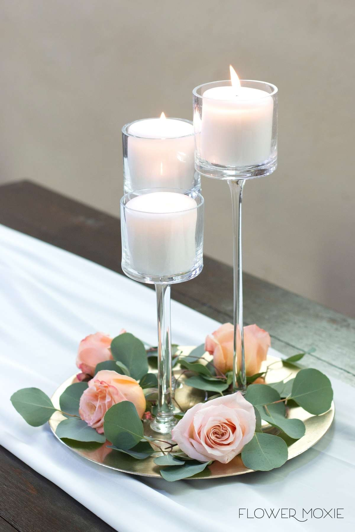 Shimmer Rose, peach roses, peachy pink rose, silver dollar eucalyptus greenery, simple centerpiece, greenery and candles, DIY wedding, DIY centerpiece, Flower Moxie