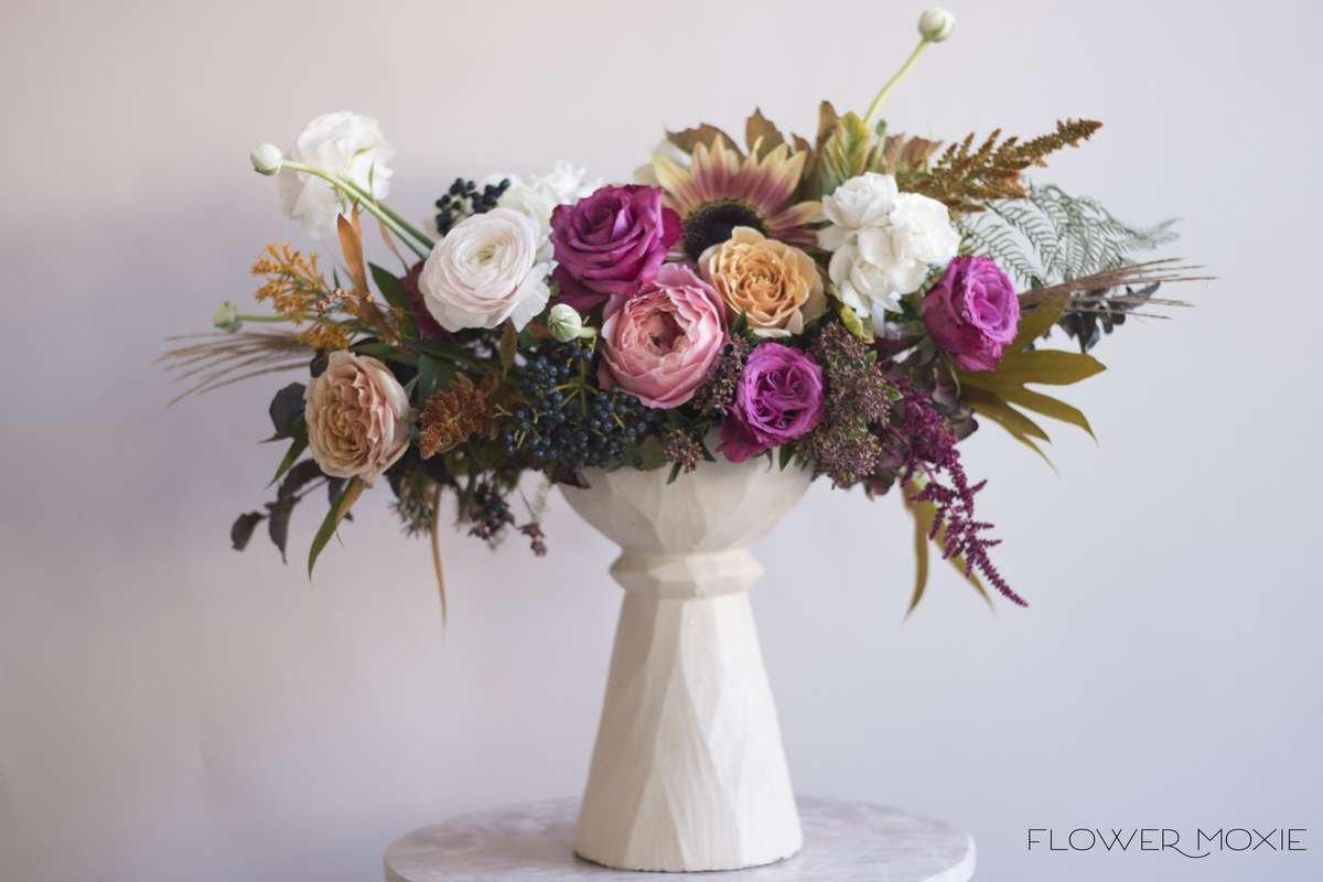 fall wedding centerpiece, antique hydrangea, red sunflower, privet berry, organic wedding centerpiece, Fall wedding flowers, flower moxie, labeled flowers