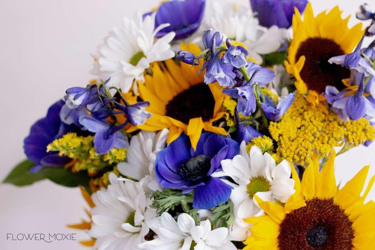 flower moxie, diy wedding flowers, indigo anemones, blue wedding flowers, navy flower, navy wedding flower, purple anenome