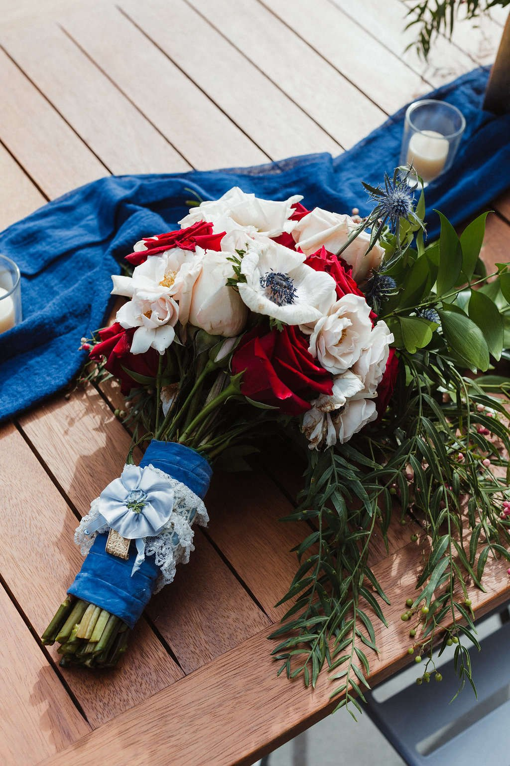 You can DIY your own wedding flowers! diy bride, flower moxie, diy flowers, budget bride, diy wedding, cream spray roses, white anemones, quicksand roses, red roses