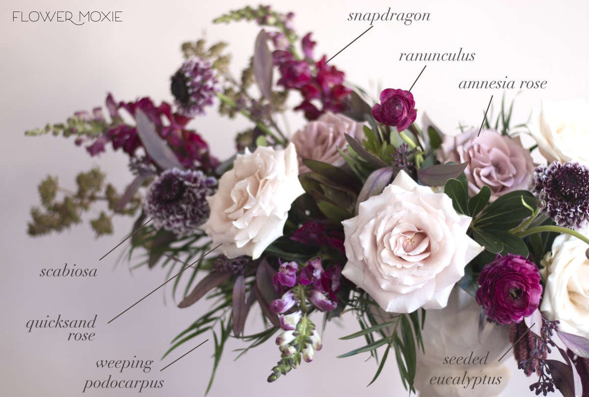 quicksand rose, scabiosa centerpiece, ranunculus centerpiece, moody flowers, moody wedding, organic centerpiece, Flower Moxie, labeled flowers