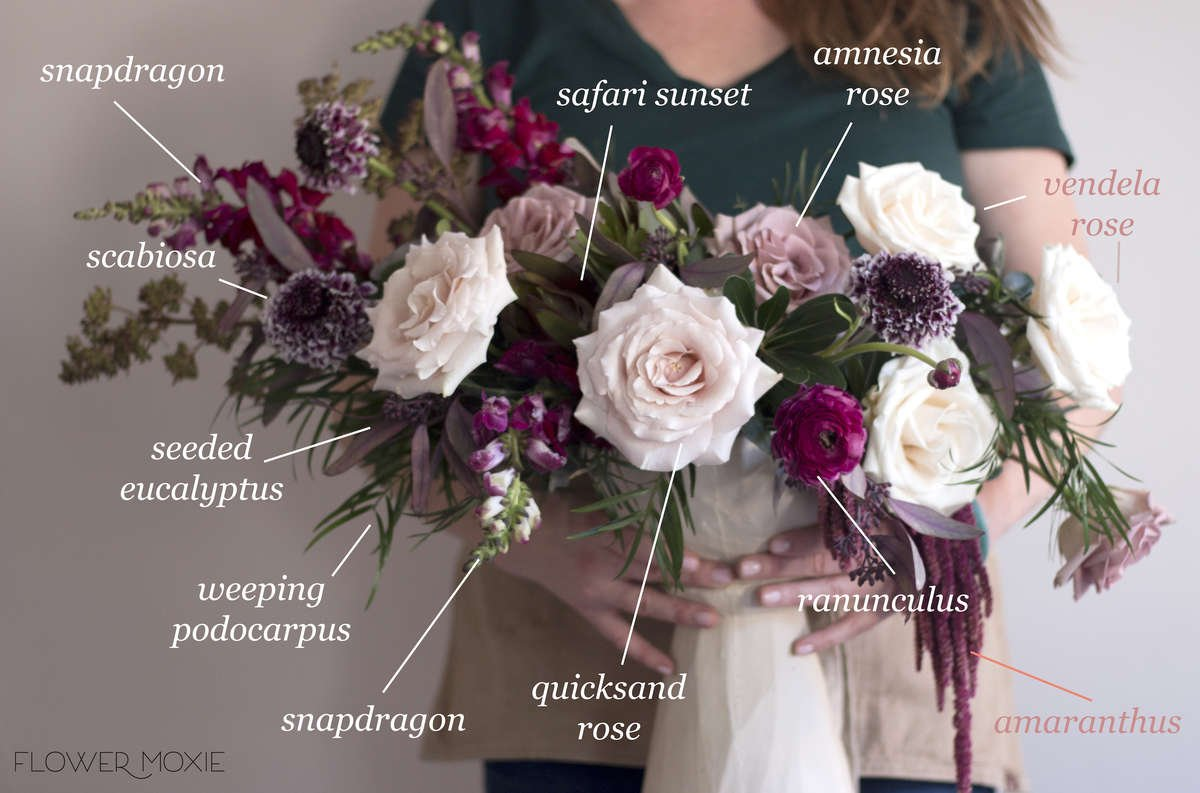Hanging amaranthus, amaranthus hanging, burgundy wedding palette, fall wedding colors, burgundy snapdragons, safari sunset, burgundy scabiosa, quicksand roses, mauve roses, lavender roses, amnesia roses, purple seeded eucalyptus, burgundy ranunculus, diy bride, diy flowers, diy bouquet, diy wedding, diy wedding ideas, flower moxie, what does a bikini rose look like, wedding ideas, make your own bouquet, make your own wedding bouquet, flower moxie