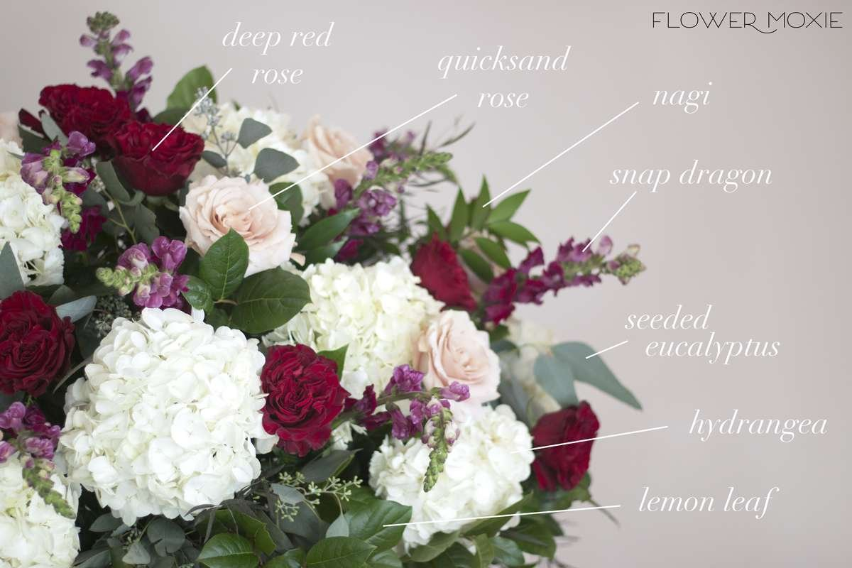 large centerpiece, altar flowers, ceremony flowers, DIY wedding flowers, labeled flowers, hydrangea centerpiece, flower moxie
