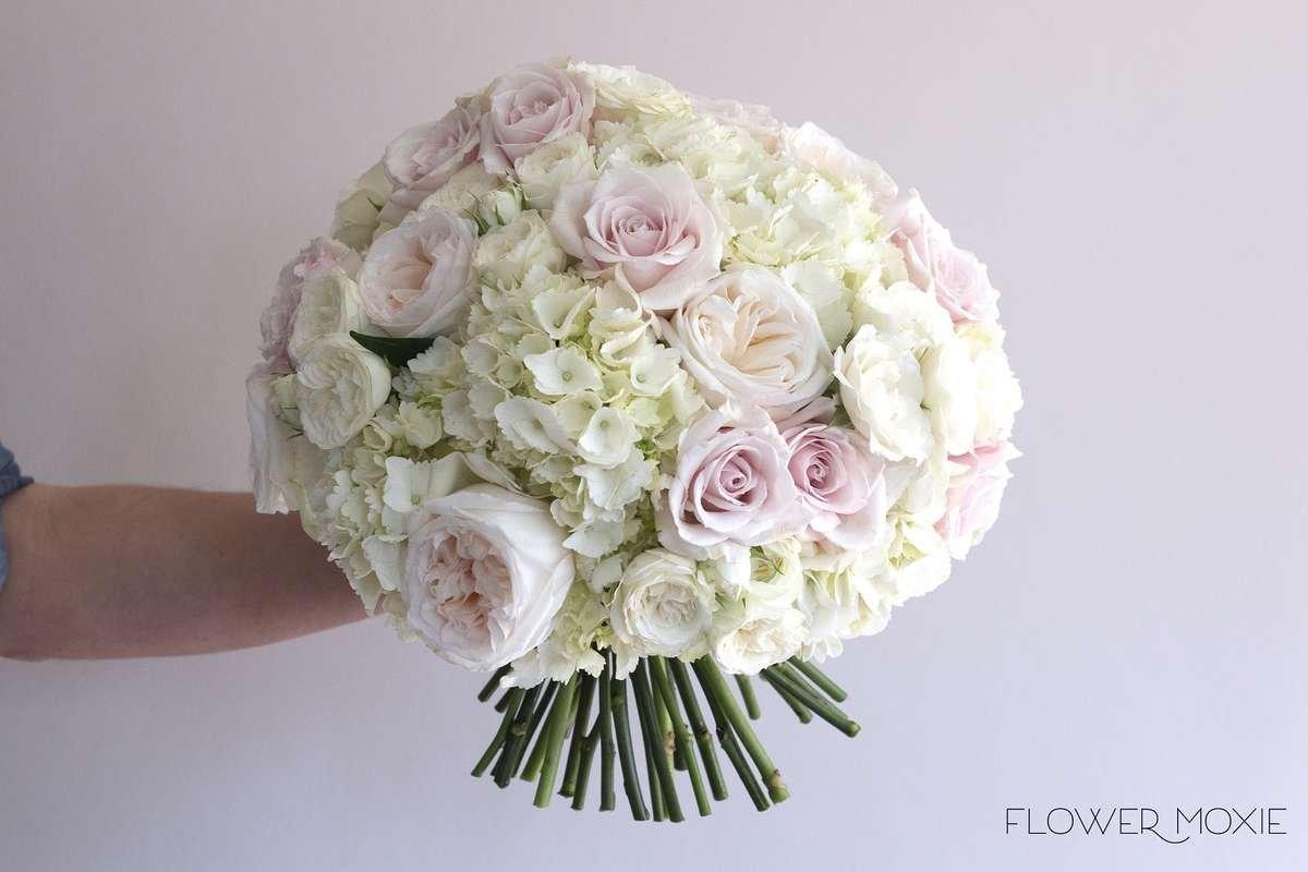hydrangea bridal bouquet, large white bouquet, Flower Moxie, DIY wedding flowers