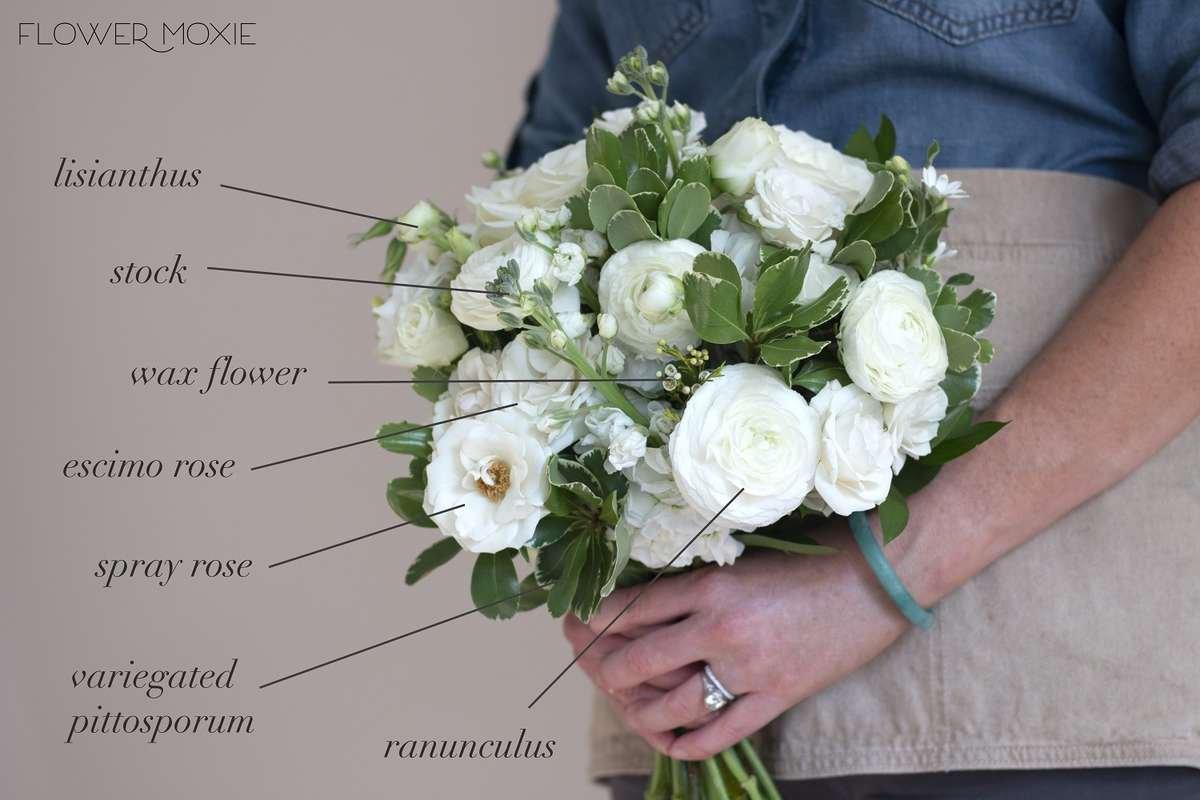 white stock bouquet, flower moxie, diy wedding bouquet, majolika spray rose, escimo roses, variegated pittosporum