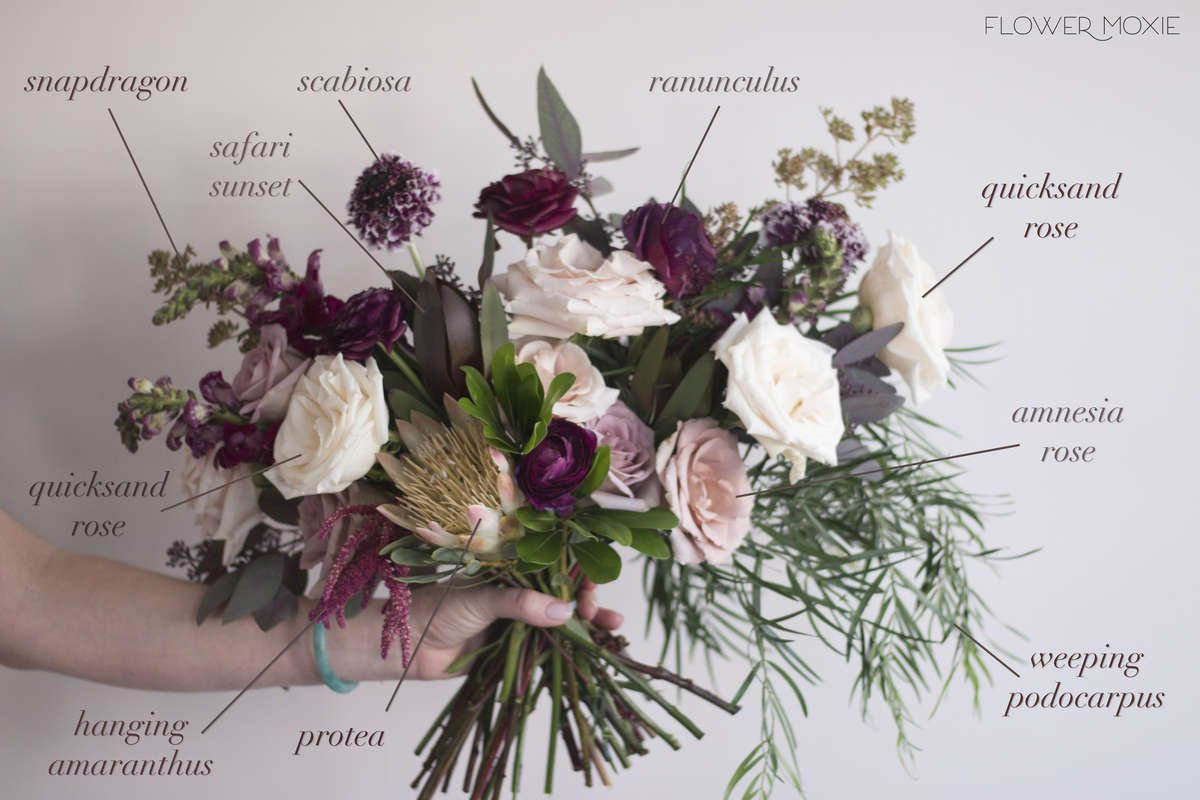 marsala bouquet, quicksand bouquet, moody colors, DIY Wedding flowers, flower moxie, protea bouquet, amaranthus bouquet, pittosporum, amnesia rose