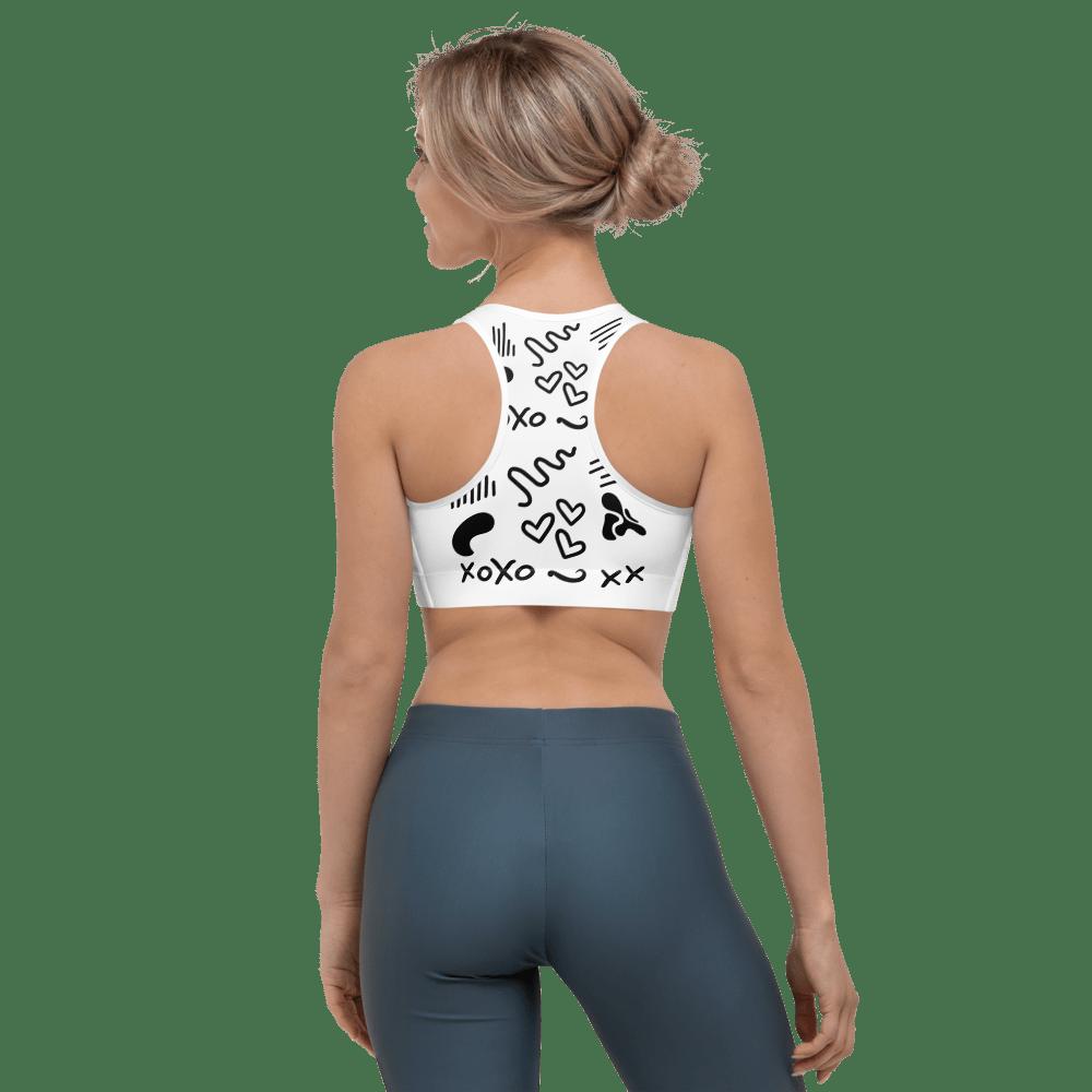 Black and White Pattern Sports Bra