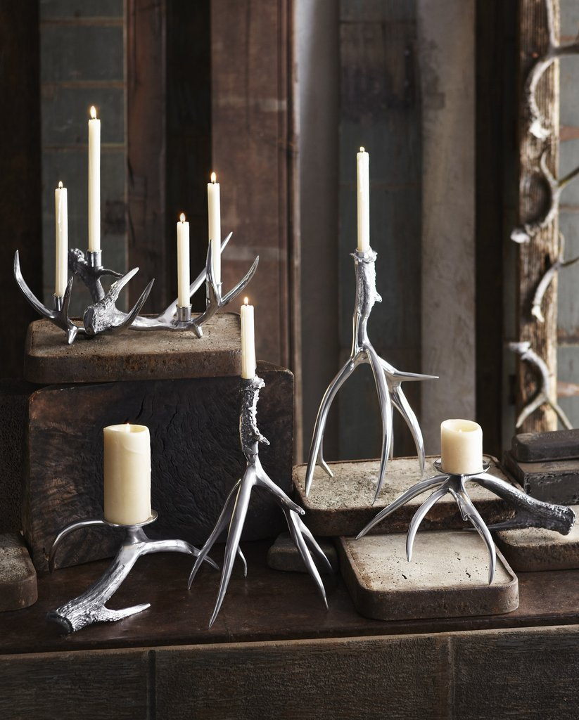 silver antler candle holders