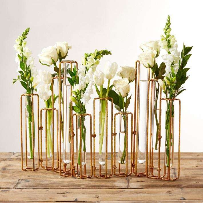 glass and metal hinged vases
