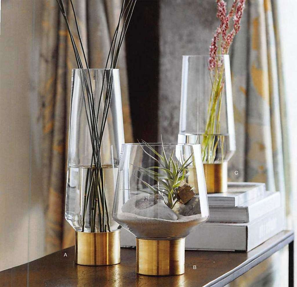 glass and brass vases