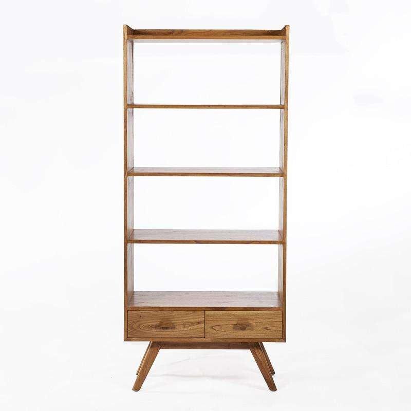 tall bookshelf two drawers doweled legs