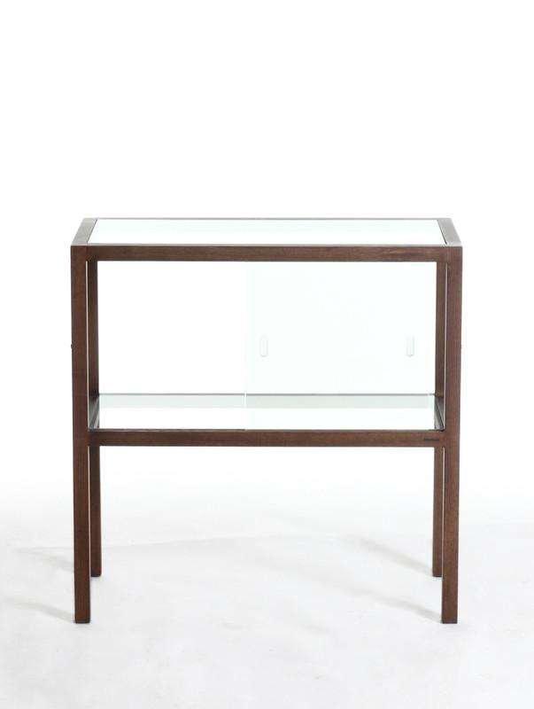 wood and glass curio