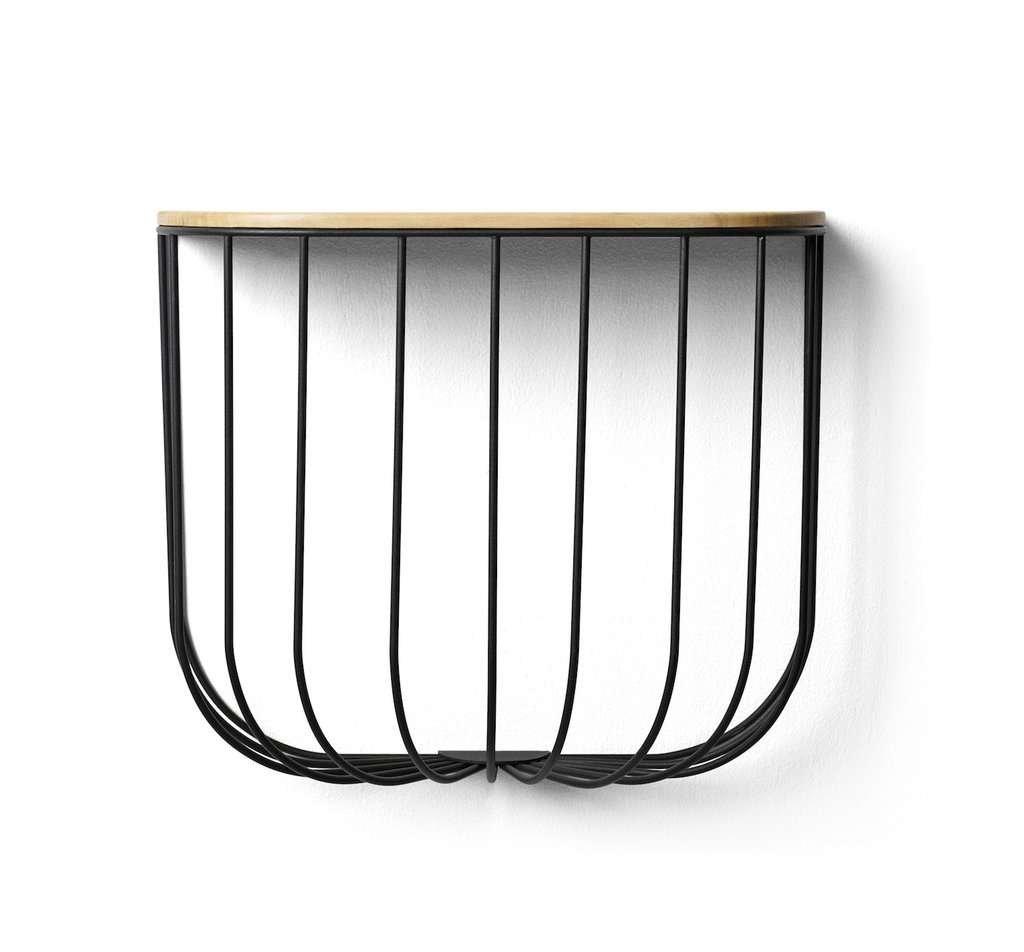 wood and metal bin and shelf