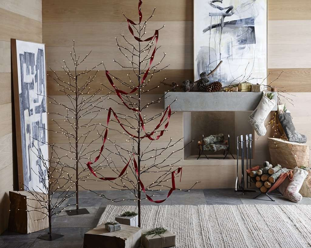 modern lit artificial holiday tree