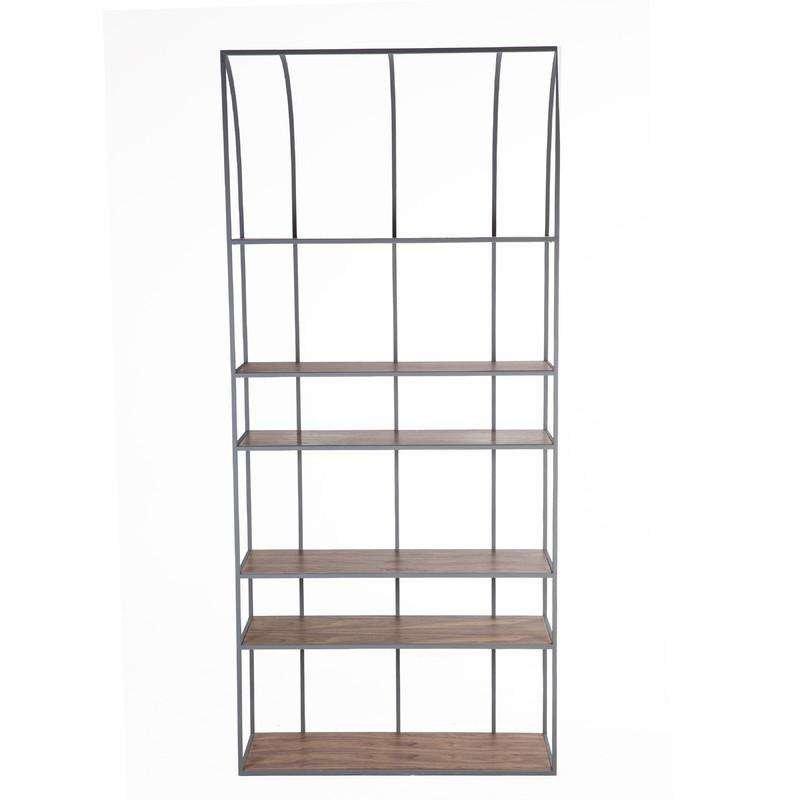modern steel walnut bookshelf