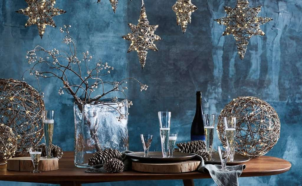 lighted stars and spheres holiday decor