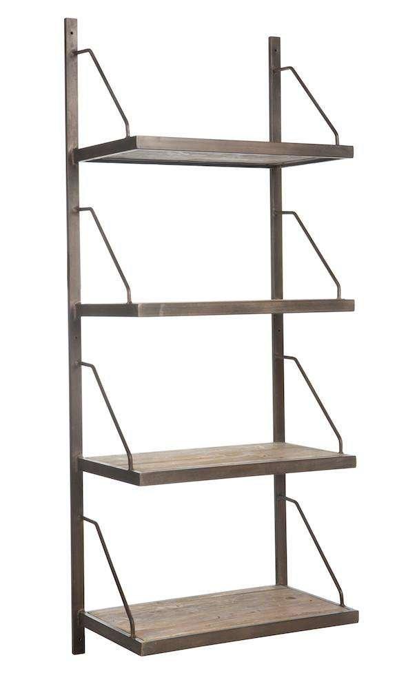 wood and steel wall shelf