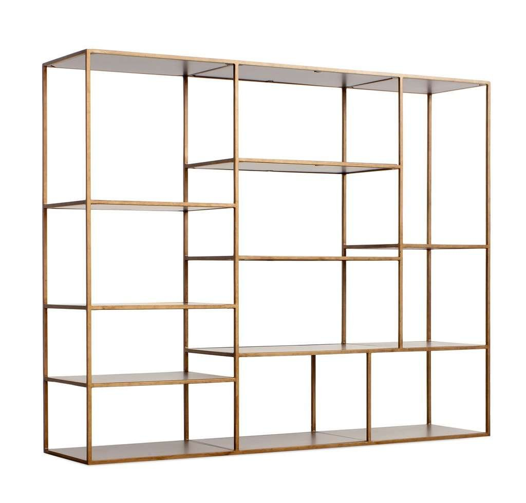 metallic bookcase asymmetrical