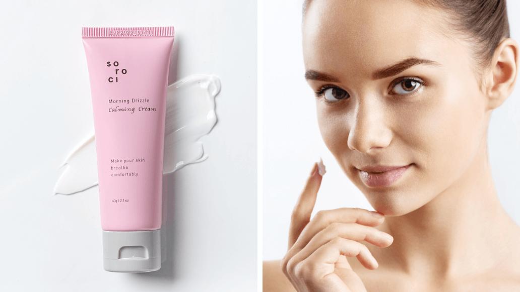 Die Anwendung der Morning Drizzle Calming Cream von Soroci